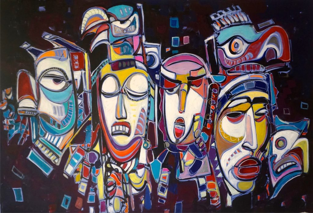 Painting of dark themed Native Masks