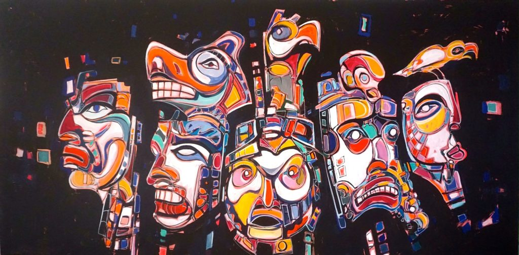 Painting by Paul Ygartua of West Coast inspired masks